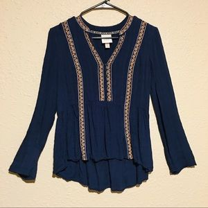 Knox Rose navy boho embroidered top